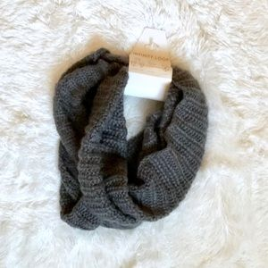 Soft Gray Knit Infinity Loop Scarf